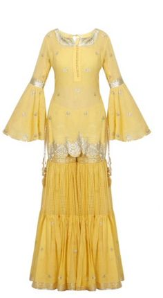 Mustard yellow and gold gota patti work kurta and sharara set available only at Pernia's Pop Up Shop. Free Drum Lesson From Top Pro's Across The World Click Now Sharara Designs, Simple Dresses, Casual Dresses, Fashion Dresses, Indian Party Wear, Indian Wear, Pakistani Outfits, Indian Outfits, Indian Designer Outfits