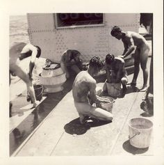 bathing on deck