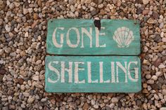Gone Shelling Handmade wooden sign with reclaimed by KicksCrafts