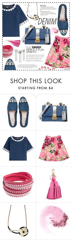 """DENIM Look #1"" by wynsha ❤ liked on Polyvore featuring Miu Miu, Boutique Moschino, Love Moschino, Chicnova Fashion, Kate Spade, Marni, NARS Cosmetics, Swarovski and denim"
