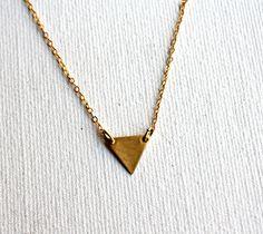 Tiny Brass Triangle Necklace- Handmade by Rachel Pfeffer