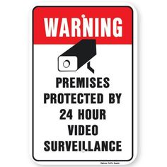 Warning Premises Protected By 24 Hours Video Surveillance Sign Diamond Grade Prismatic Reflective.By Highway Traffic Supply Highway Traffic, Diamond Supply, Jewelry Collection, Antique Jewelry, Signs, Old Jewelry, Ancient Jewelry, Shop Signs, Sign