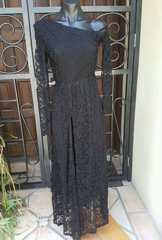 Maxi Dress with Front Splits Bettina Liano Off Cold Shoulder Black Dress