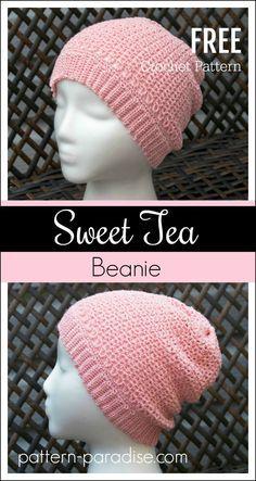 Free Crochet Pattern: Sweet Tea Beanie Hat | Pattern Paradise