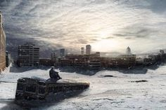Winter snow post-apocalyptic digital art - Image 2732x1125