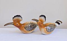Rare Vintage Brass Hoopoe Bird Figurine Statues Africa Tropical Bird Mid Century