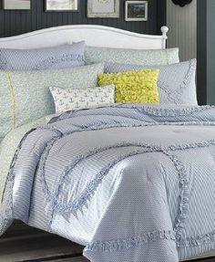 Amazon.com: Teen Vogue Nantucket Stripe Twin Comforter & Sham Set Blue/White:
