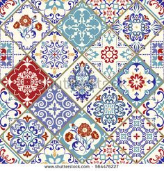 Seamless ceramic tile with colorful patchwork. Vintage multicolor pattern in turkish style. Endless pattern can be used for ceramic tile, wallpaper, linoleum, textile, web page background. Vector
