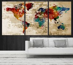 Art Canvas World Map Art Print Map Art Print door ExtraLargeWallArt