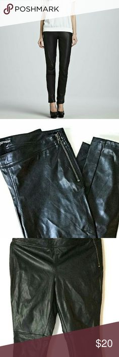 """Express pleather pants In excellent condition, no signs of wear, zipper on each ankle and waist for flexible wear. Inseam 28"""" front rise 11"""" back rise 13"""" Express Pants Straight Leg"""