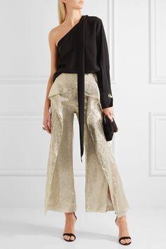 Roland Mouret | Caldwell cropped draped silk-blend lamé wide-leg pants | NET-A-PORTER.COM