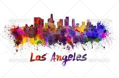 Los Angeles skyline in watercolor ...  Los Angeles skyline, abstract, architecture, art, background, bright, california, cityscape, clipping path, color, colorful, creativity, grunge, illustration, ink, landmark, los angeles, monuments, north america, paint, panoramic, paper, skyline, splash, splatter, texture, united states, vintage, wallpaper, watercolor