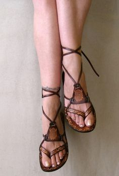 Brown Leather Lace Up Handmade Flat Sandals With Design - Fantasy II