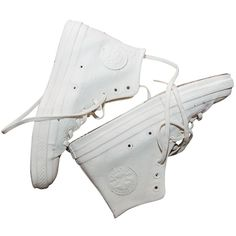 CONVERSE TRAINERS MAISON MARTIN MARGIELA ($315) ❤ liked on Polyvore featuring shoes, sneakers, converse, white, white trainers, white shoes and white sneakers