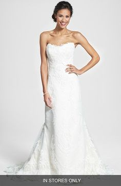 Even the PRICE is pretty on this James Clifford Collection Embroidered Appliqué Strapless Satin Mermaid Dress #wedding #weddingdress #nordstrom