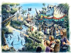 A new interactive quest called A Pirate's Adventure: Treasures of the Seven Seas will debut in Adventureland at Magic Kingdom Park this spring. (And check out this great artist rendering that our friends at Walt Disney Imagineering just shared with us! Disney Cruise Line, Disney World Vacation, Disney Vacations, Disney Trips, Walt Disney World, Disney Worlds, Family Vacations, Cruise Vacation, Vacation Destinations