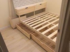 Мебель ручной работы. Ярмарка Мастеров - ручная работа. Купить Двухспальная кровать из массива. Handmade. Белый, встроенная мебель