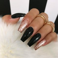 18 Beautiful Coffin Nail Designs Ideas ★ Glitter Coffin Nails Design Picture 6 ★ See more: http://glaminati.com/coffin-nail-designs/ #coffinnails #coffinnailsdesign