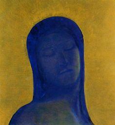 Odilon Redon (1840-1916, France) - 'Closed Eyes' (c.1894)