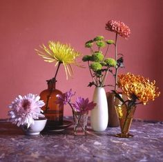 Fall floral arrangement tips from Kevin Sharkey: Single mums in small vases are striking.