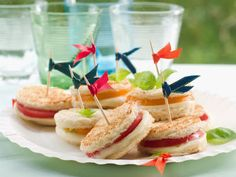 simple and super easy baby shower food ideas, dessert inspirations - Sandwiches with mozzarella and tomato