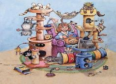 Image result for gary patterson comical cat prints