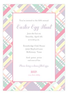 Pastel Plaid Invitation