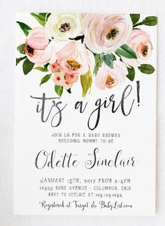 Celebrate the baby girl on the way with this lovely floral country invitation!  Country Floral Baby Shower Invitation, It's a Girl, Rustic, Printable Baby Shower Invites [479]