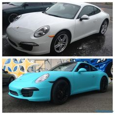 plasti dip Before and After | Жидкая Резина бирюзовый цвет для Porsche