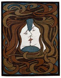 """Peter Behrens: """"El Beso"""" - Xilografía (1898)"""