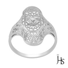 Women's 14K White Gold 0.05 Cts Round Diamond One of a Kind Filigree Fancy Ring #WomensRingJewelryHotspot