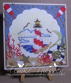 Made by Femke Niessen: Lighthouse Sea Scene Tiny Cross Stitch, Cat Cross Stitches, Cross Stitch Borders, Cross Stitch Flowers, Cross Stitch Kits, Cross Stitching, Cross Stitch Embroidery, Cross Stitch Patterns, Cross Stitch Freebies