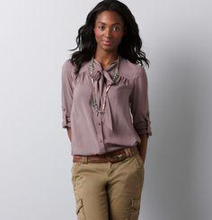 Cute tie neck blouse, Loft, $50