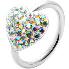 "16 Gauge 1/2"" Aurora Heart Crystal Ice Captive Ring. 13.99 This would be cute for my rook :)"