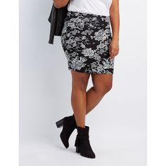 Charlotte Russe Printed Bodycon Mini Skirt (34 CNY) ❤ liked on Polyvore featuring plus size women's fashion, plus size clothing, plus size skirts, plus size mini skirts, embellished mini skirt, floral bodycon skirt, womens plus size skirts, short mini skirts and black and white floral skirt