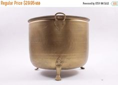 Large Brass Claw Footed Flower Pot Burnished Gold  The Pink Room  170129 by ThePinkRoom