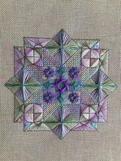 Stella Polaris by Carole Lake and Michael Boren (StitchPlay Designs) in Lexi's Blues colorway. Broderie Bargello, Bargello Needlepoint, Needlepoint Stitches, Needlepoint Canvases, Needlework, Hardanger Embroidery, Cross Stitch Embroidery, Embroidery Patterns, Hand Embroidery