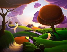 over the hills and far away, paul corfield, oils on polyester Abstract Landscape, Landscape Paintings, Abstract Paintings, Naive Art, Art For Art Sake, Whimsical Art, Folk Art, Fantasy Art, Contemporary Art