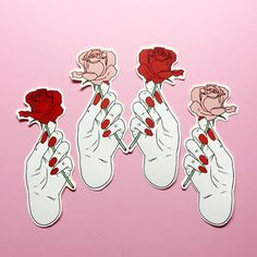Rose stickers , grunge , fashion , pink , sticker ,  smoking , blunt , fun , girl , sassy , pastel