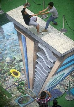 Optical illusion where a man appears to be falling. http://www.mentalismcentral.com
