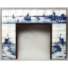 Dutch Delft porcelain blue and white fireplace mantel with Dutch scenes with windmills (19th Cent) ($6,750) found on Polyvore