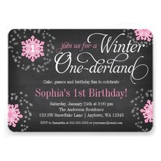 Pink Snowflakes Chalkboard Winter Onederland Personalized Girl 1st Birthday Invitations. An adorable winter onederland themed birthday party invitation. Shown in gray chalkboard, pink and white. Easily personalize for your party!