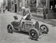 Designed and built by Gus Petzel of Alameda, California. The car has a 4-cylinder air cooled motor, 3 speeds, electric lights and starter, 60-inch wheelbase, 21x4 airplane tires, and weighs 560 pounds. It makes 52 miles per gallon and has a speed of 65 miles on the road and 80 miles on the track. Cost $2,000 to build.