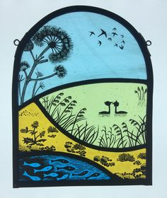 Mini-window, painted and fired stained glass. This is a representation of Slapton Ley, in Dorset Stained Glass Paint, Stained Glass Designs, Stained Glass Panels, Stained Glass Projects, Stained Glass Patterns, Sea Glass Art, My Glass, Fused Glass, Window Panels