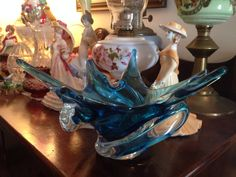 1960's Chalet Art Glass. Beautiful blue shade. Nice cause it's a lower design than most, making it fit most anywhere.