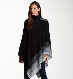 poncho femme noir gris jeans automne hiver 2015