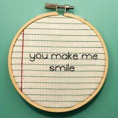 Love Note 3 You're my favorite Hooped by CurtainUpCrafts on Etsy Embroidery Works, Hand Embroidery Stitches, Embroidery Hoop Art, Cross Stitch Embroidery, Embroidery Patterns, Cross Stitch Patterns, You're My Favorite, My Favorite Things, Love Notes