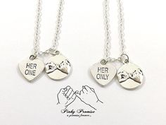 2 Her One Her Only Pinky Promise Necklaces, LGBT Necklaces,  Lesbian Couples Jewelry, Gay Pride,  Hers Necklaces on Etsy, $33.99