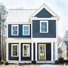 Exterior paint colors blue cream colored exterior houses navy house exterior on cedar shake - Exterior house colors blue . Exterior Color Schemes, Exterior Paint Colors For House, Paint Colors For Home, Exterior Design, Paint Colours, Exterior Siding, Exterior Windows, Siding Colors, Wall Exterior