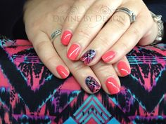 Www.DivineByDesignBeauty.com  CND Shellac With Hand Painted Aztec Ring Finger to compliment my lovely client's dress. xDBDx
